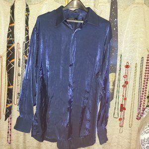 Damante Vintage Metallic Blue Button Down 2XL